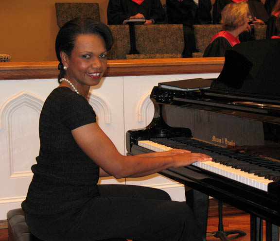 """Condoleezza Rice in concert with Mason & Hamlin Plays concert to benefit Make-A-Wish May 26, 2010"
