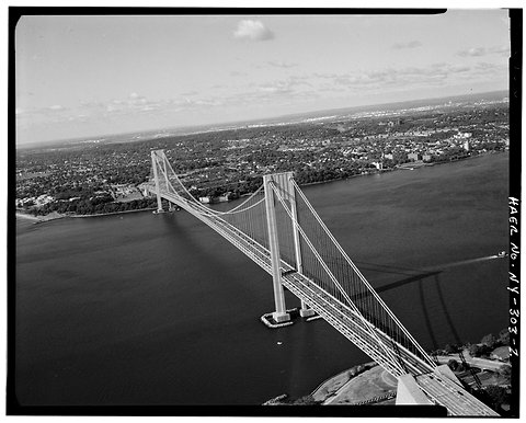Jet Lowe/Library of Congress.  The Verrazano-Narrows Bridge, which connects the New York boroughs of Brooklyn and Staten Island, opened on Nov. 21, 1964.