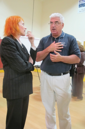 SI resident and Sandy survivor Victor Dolan sharing feelings with Dr Judy at the civic meeting